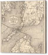 Vintage Cape Cod Old Colony Line Map  Canvas Print