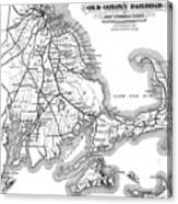 Vintage Cape Cod Old Colony Railroad Map Canvas Print