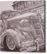 Vintage Car On The Street Canvas Print