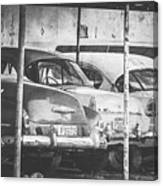 Vintage Cars At Night Bw Canvas Print