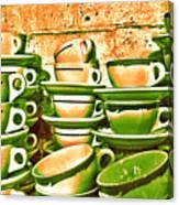 Vintage Cellar Tea Cups Painterly Canvas Print
