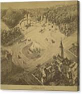 Vintage Central Park Entrance Illusration - 1865 Canvas Print