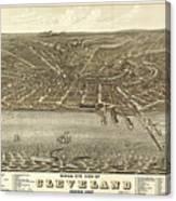 Vintage Cleveland Ohio Map Canvas Print