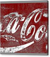 Coca Cola Red And White Sign Gray Border With Transparent Background Canvas Print