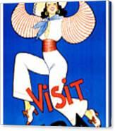 Vintage Cuba Travel Poster Canvas Print