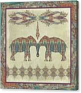 Vintage Elephants Kashmir Paisley Shawl Pattern Artwork Canvas Print