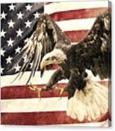 Vintage Flag With Eagle Canvas Print