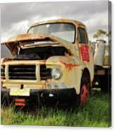 Vintage Flatbed Milk Truck Portrait Canvas Print