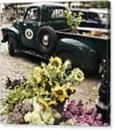 Vintage Flower Truck-nantucket Canvas Print