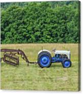 Vintage Ford Blue And White Tractor On A Farm Canvas Print