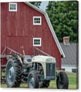 Vintage Ford Farm Tractor With Red Barn Canvas Print