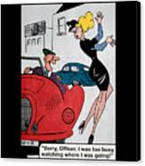 Vintage Funny Joke Retro 1950's Humor Pin Up Girl  Canvas Print