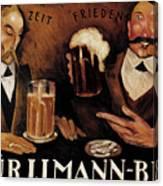 Vintage German Beer Advertisement, Friends Drinking Bier Canvas Print