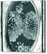 Vintage Glass Cyanoplate Dahlias Canvas Print
