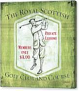 Vintage Golf Green 1 Canvas Print