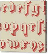 Vintage Gothic Font Red Canvas Print