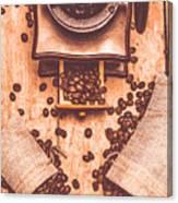 Vintage Grinder With Sacks Of Coffee Beans Canvas Print
