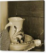 Vintage Grooming Set and Stoneware Water Pitcher in Sepia Tones Canvas Print