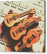 Vintage Guitars On Music Sheet Canvas Print