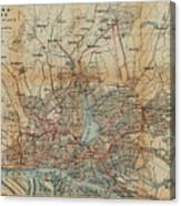 Vintage Hamburg Railway Map - 1910 Canvas Print
