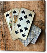 Vintage Hand Of Cards Canvas Print