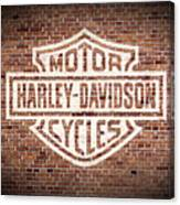 Vintage Harley Davidson Logo Painted On Old Brick Wall Canvas Print