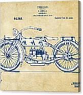Vintage Harley-davidson Motorcycle 1919 Patent Artwork Canvas Print