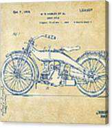 Vintage Harley-davidson Motorcycle 1924 Patent Artwork Canvas Print