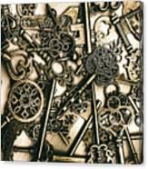 Vintage Keys On Wooden Table Canvas Print