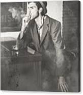 Vintage Man In Hat Smoking Cigarette In Jazz Club Canvas Print