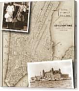 Vintage Map Ellis Island Immigrants Canvas Print