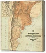 Vintage Map Of Argentina - 1882 Canvas Print