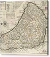Vintage Map Of Barbados - 1736 Canvas Print