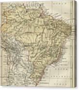 Vintage Map Of Brazil - 1889 Canvas Print