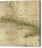 Vintage Map Of Cuba - 1639 Canvas Print