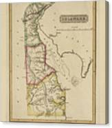 Antique Map Of Delaware Canvas Print