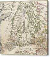 Vintage Map Of Finland - 1740s Canvas Print