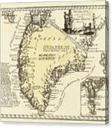 Vintage Map Of Greenland - 1791 Canvas Print