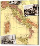 Vintage Map Of Italy Genealogy Map Canvas Print