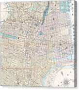 Vintage Map Of Jersey City And Hoboken  Canvas Print