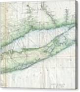 Vintage Map Of Long Island Ny Canvas Print