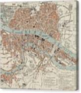 Vintage Map Of Lyon France - 1888 Canvas Print