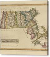 Antique Map Of Massachusetts Canvas Print