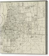 Vintage Map Of Memphis Tennessee - 1911 Canvas Print