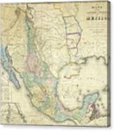 Vintage Map Of Mexico - 1847 Canvas Print