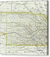 Vintage Map Of Nebraska - 1889 Canvas Print