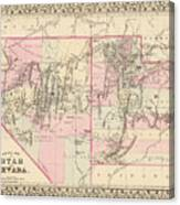 Vintage Map Of Nevada And Utah - 1880 Canvas Print