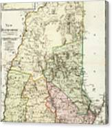 Vintage Map Of New Hampshire - 1796 Canvas Print