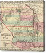 Vintage Map Of New Mexico And Utah - 1857 Canvas Print