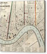 Vintage Map Of New Orleans Louisiana - 1845 Canvas Print